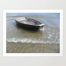 Wooden boat in the surf Art Print