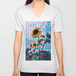 Sunflowers and a bee Unisex V-Neck