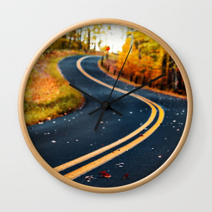 road in autumn Wall Clock