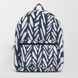 Boho chevron herringbone stripe pattern - midnight blue Backpack