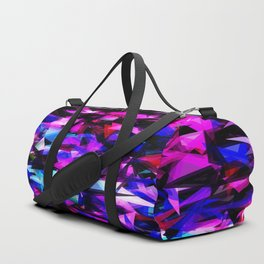 psychedelic geometric triangle polygon abstract pattern in pink blue black Duffle Bag
