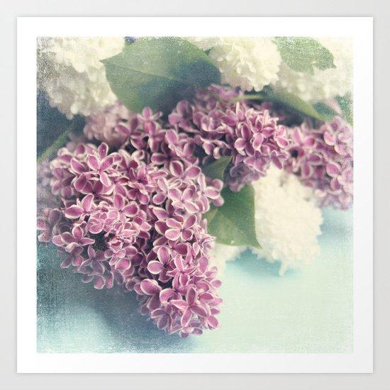 lilacs on blue Art Print
