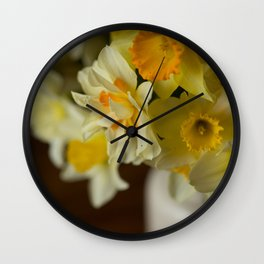 Rustic Spring Flowers Wall Clock