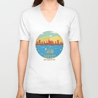 san diego V-neck T-shirts featuring San Diego by Simon Alenius