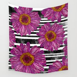 Pink Ink Flowers on Black & White Stripes Wall Tapestry