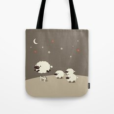 Sheeps jumping across a Fence Tote Bag