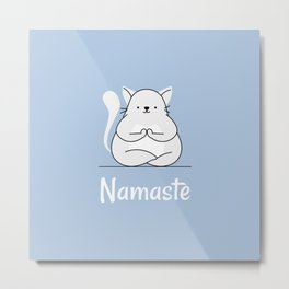 Namaste Yoga Cat Pastel Blue Metal Print