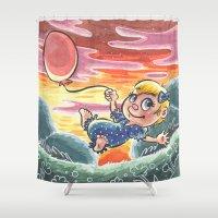 ballon Shower Curtains featuring Petite fille et son ballon by Laeti Vanille