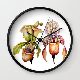 Watercolor Paphiopedilum  Orchids in Vivid Colors Wall Clock