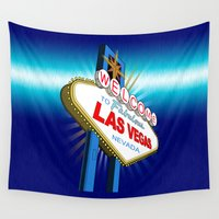 las vegas Wall Tapestries featuring Welcome to Las Vegas by Adamzworld