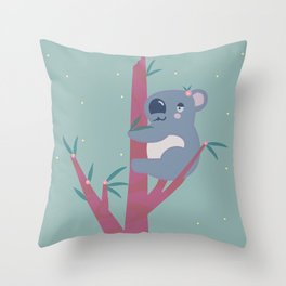 Sweet Koala in Flowering Gum Tree Throw Pillow
