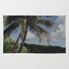 Hawaii Haze - Tropical Beach with Palm Trees Rug
