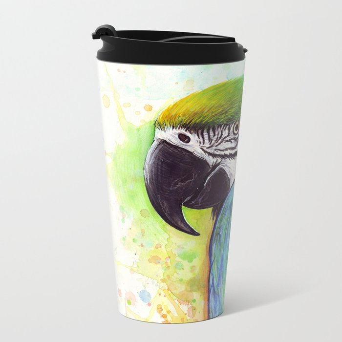 Macaw Bird Parrot Colorful Tropical Animal Metal Travel Mug
