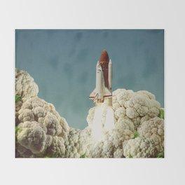 Houston we have cauliflower - Rocket take-off Throw Blanket