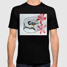 Black capped chickadee and fantasy flowers and lines Mens Fitted Tee Black MEDIUM