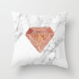 Rose gold diamond on marble Throw Pillow