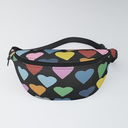 Hearts Heart Teacher Black Fanny Pack