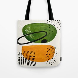 Mid Century Modern Abstract Colorful Art Patterns Olive Green Yellow Ochre Orbit Geometric Objects Tote Bag