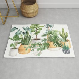 Watercolor house plants potted plants Rug