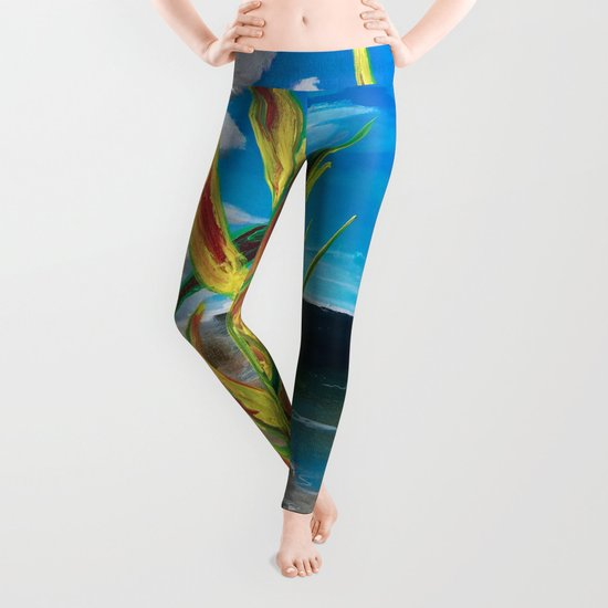 Heliconia Tropical Parrot Plant Take Me There Leggings