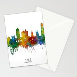 Yale New Haven Connecticut Skyline Stationery Cards