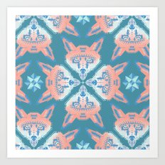 Pastel Fox Pattern Art Print