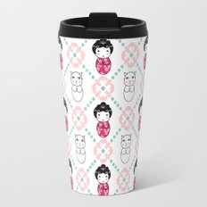 Kokeshi & Lucky Cat Travel Mug
