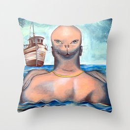 Sea lion | Awaiting Escape Throw Pillow