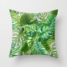 green tropic Throw Pillow