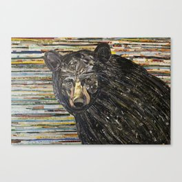 Colorful Black Bear Collage by C.E. White Canvas Print