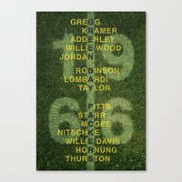 packers Canvas Prints featuring The Names of the 1966 Packers by tinyconglomerate