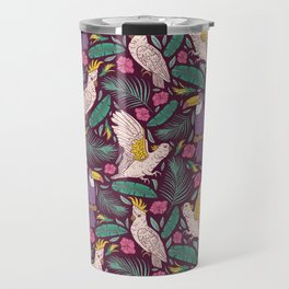 Purple toucan with pink cockatoo amoung tropical flowers and leaves Travel Mug