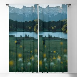 Sunrise at a mountain lake with forest - Landscape Photography Blackout Curtain
