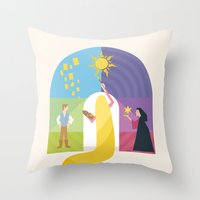 rapunzel Throw Pillows featuring Rapunzel by Rob Yeo Design