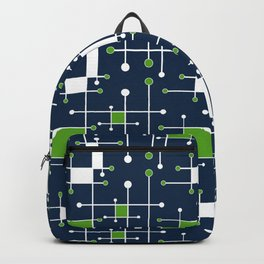 Intersecting Lines in Navy, Lime and White Backpack