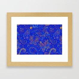 Blue Spring Butterfly Pattern Framed Art Print