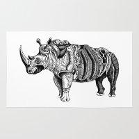 rhino Area & Throw Rugs featuring Rhino  by Rebexi