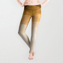 Golden Ocean Night - Abstract Metallic Geometry Leggings