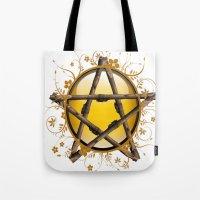 pentagram Tote Bags featuring Flower Pentagram by The Painted Kat