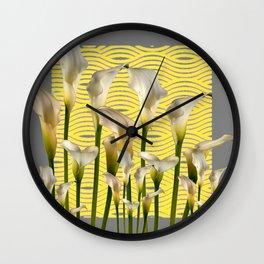 Grey & Yellow Pattern Calla Lilies Art Wall Clock