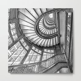 Rookery Building Frank Lloyd Wright Stairway & Glass Windows black and white photography  Metal Print