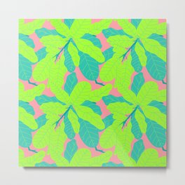 Tropicana Banana Leaves in Neon Peach + Lime Metal Print