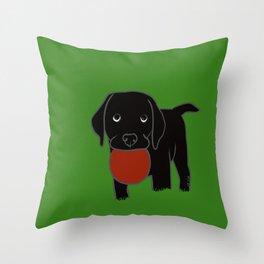 Black Lab Puppy Throw Pillow