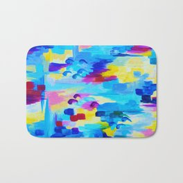DONT QUOTE ME, Revisited - Bold Colorful Blue Pink Abstract Acrylic Painting Gift Art Home Decor  Bath Mat