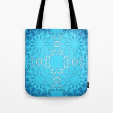 Turquoise Blue Color Burst Floral Tote Bag