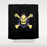 skeletor Shower Curtains featuring Skeletor jolly roger by Buby87