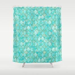 Luxury Aqua Teal and Gold oriental quatrefoil pattern Shower Curtain