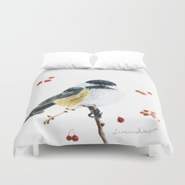 Christmas Chickadee by Teresa Thompson Duvet Cover