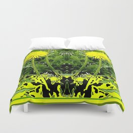 Green-Yellow  Gothic  Dandelions Architectural Fantasy Duvet Cover