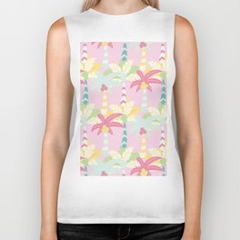 Modern girly pink teal white abstract palm tree Biker Tank